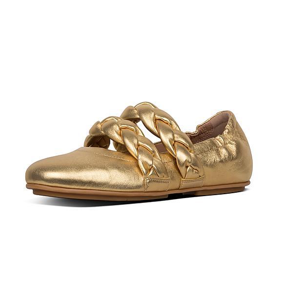 핏플랍 FitFlop ALLEGRO Braid Metallic Leather Ballet Flats,Artisan Gold