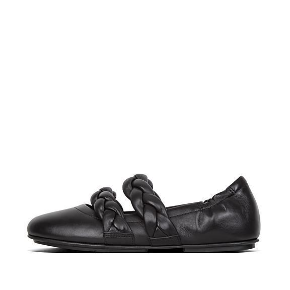 핏플랍 FitFlop ALLEGRO Braid Leather Ballet Flats,Black