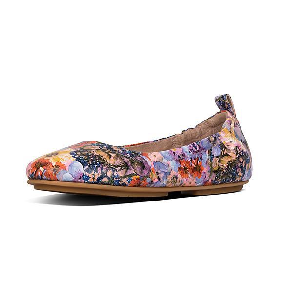 핏플랍 FitFlop ALLEGRO Flowercrush Leather Ballet Flats,Oyster Pink