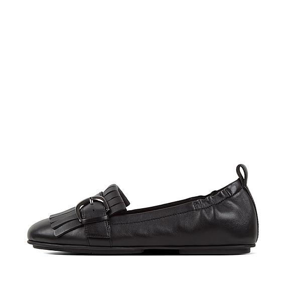 핏플랍 FitFlop ALLEGRO Fringe Leather Ballet Flats,Black