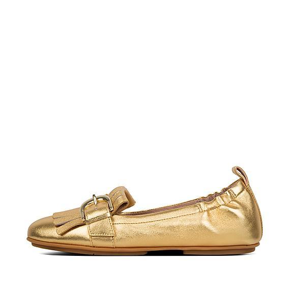 핏플랍 FitFlop ALLEGRO Fringe Leather Ballet Flats,Gold