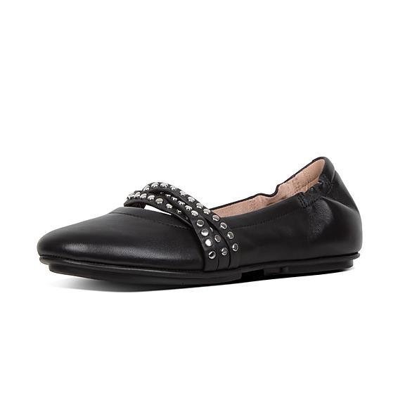 핏플랍 FitFlop ALLEGRO Rockstud Strappy Leather Ballet Flats,Black