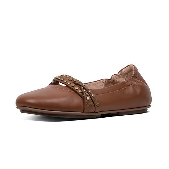 핏플랍 FitFlop ALLEGRO Rockstud Strappy Leather Ballet Flats,Cognac
