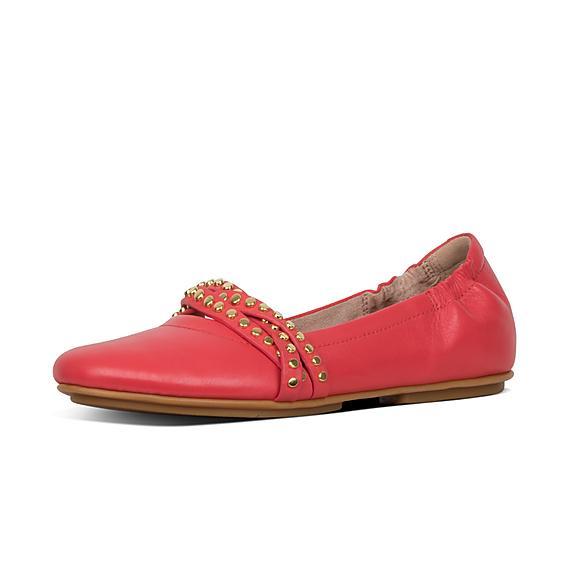 핏플랍 FitFlop ALLEGRO Rockstud Strappy Leather Ballet Flats,Passion Red