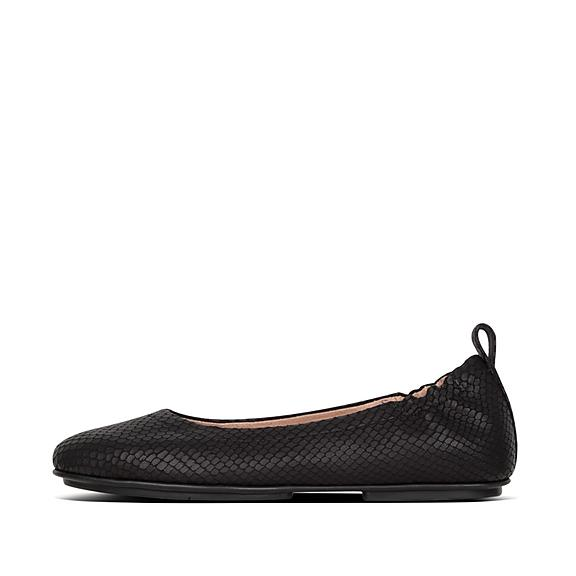 핏플랍 FitFlop ALLEGRO Snake-Print Leather Ballerinas,Black