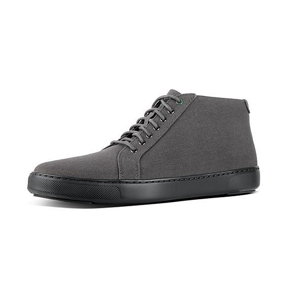 핏플랍 FitFlop ANDOR Mens Canvas High-Top Sneakers,Charcoal
