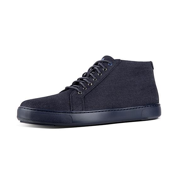 핏플랍 FitFlop ANDOR Mens Denim High-Top Sneakers,Supernavy
