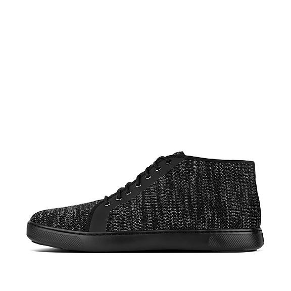 핏플랍 FitFlop ANDOR Mens Knit High-Top Sneakers,Black