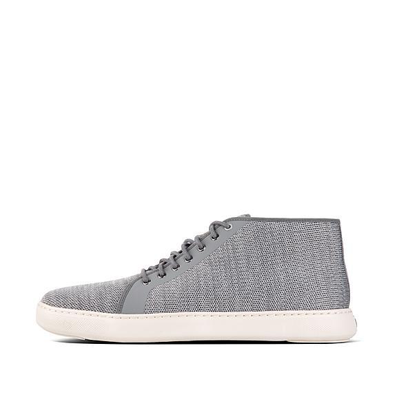 핏플랍 FitFlop ANDOR Mens Knit High-Top Sneakers,Charcoal