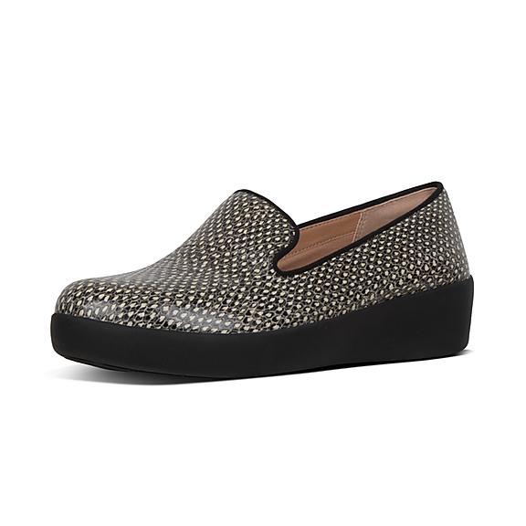 핏플랍 오드리 로퍼 FitFlop AUDREY Dotted-Snake Leather Loafers,Natural Snake
