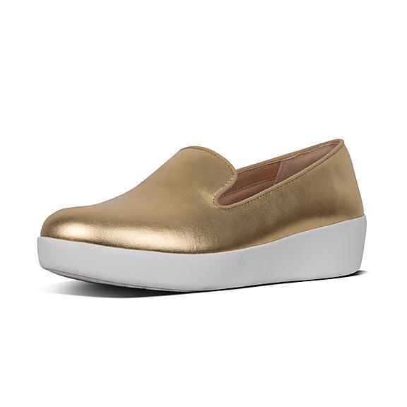 핏플랍 FitFlop AUDREY Metallic Leather Loafers,Artisan Gold