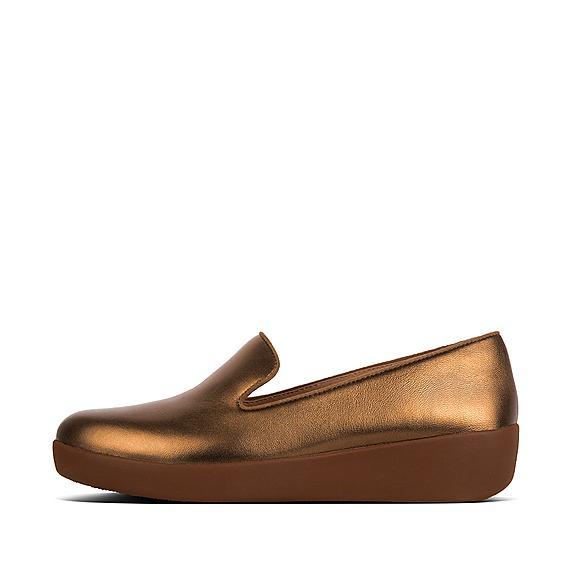 핏플랍 FitFlop AUDREY Leather Loafers,Bronze