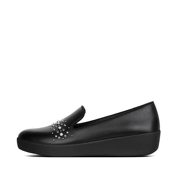 핏플랍 오드리 로퍼 FitFlop AUDREY Pearl Stud Loafers,Black