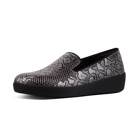 핏플랍 FitFlop AUDREY Python Print Smoking Slippers,Black