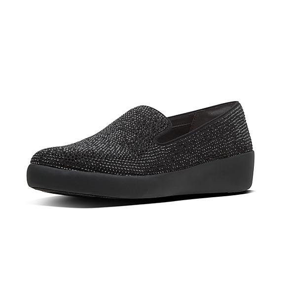 핏플랍 FitFlop AUDREY Shimmer Crystal Loafers,Black
