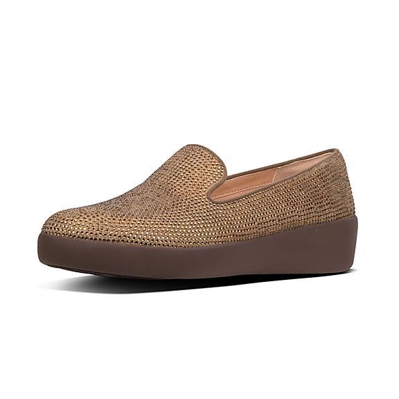 핏플랍 오드리 로퍼 FitFlop AUDREY Shimmer Crystal Loafers,Bronze