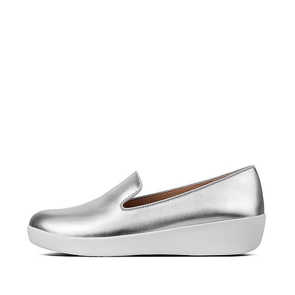 핏플랍 FitFlop AUDREY Leather Loafers,Silver