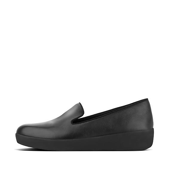 핏플랍 FitFlop AUDREY Leather Loafers,Black