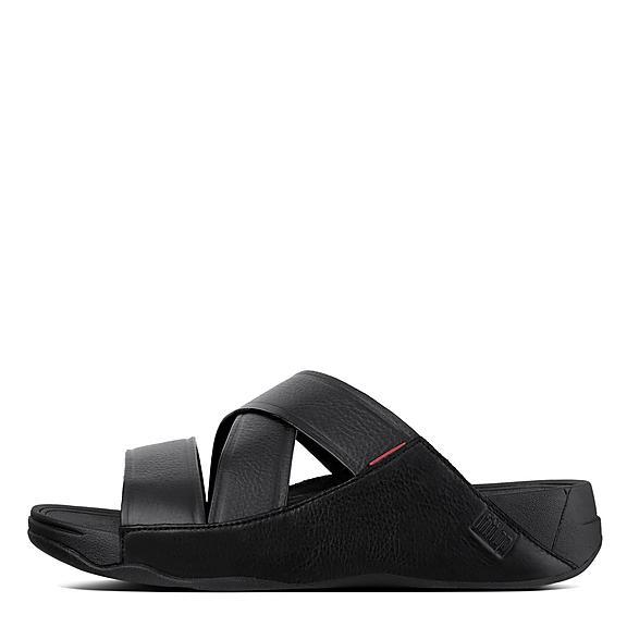 핏플랍 치 샌들 슬라이드 블랙 FitFlop CHI Leather Slide Sandals,Black