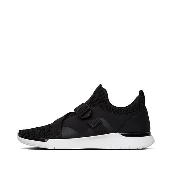 핏플랍 FitFlop FLEXKNIT V-Strap Sneakers,Black