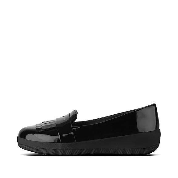핏플랍 FitFlop SNEAKERLOAFER Fringey Patent Sneakerloafers,Black