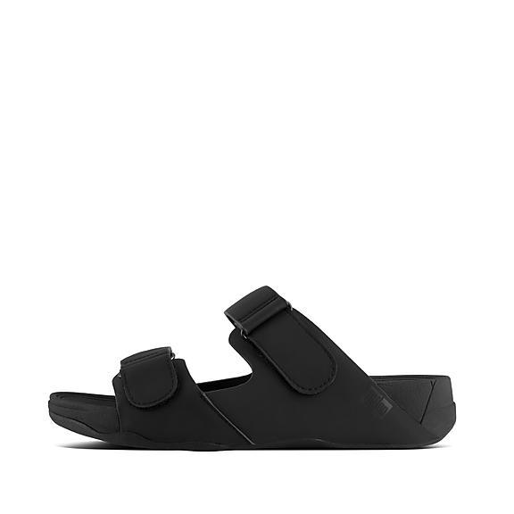 핏플랍 고흐 네오프렌 슬라이드 - 블랙 FitFlop GOGH Mens Neoprene Adjustable Slides,Black