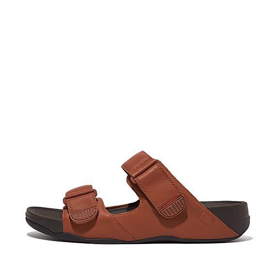 핏플랍 고흐 모크 가죽 샌들 - 다크 탠 FitFlop GOGH Mens Moc Leather Sandals,Dark Tan