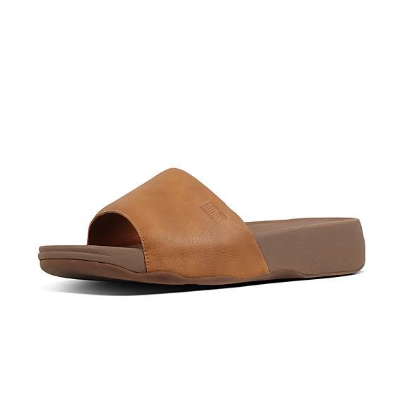 핏플랍 FitFlop KANO Leather Pool Slides,Light Tan