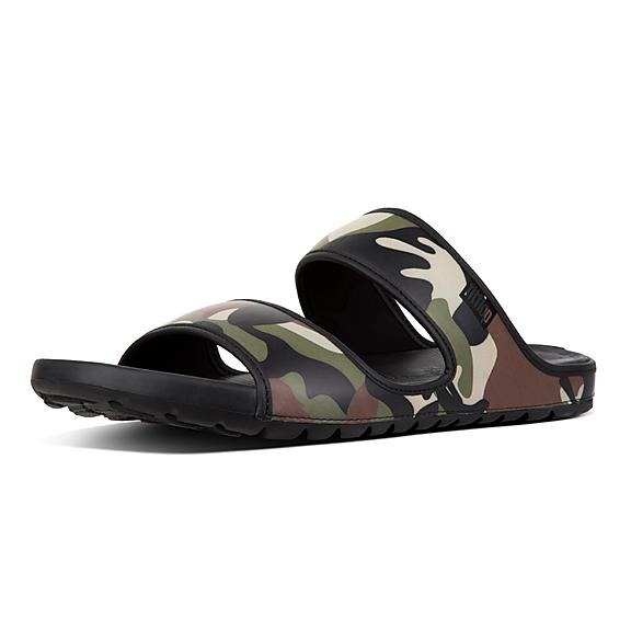 핏플랍 FitFlop LIDO Mens Camouflage Double Neoprene Slides,Khaki Mix