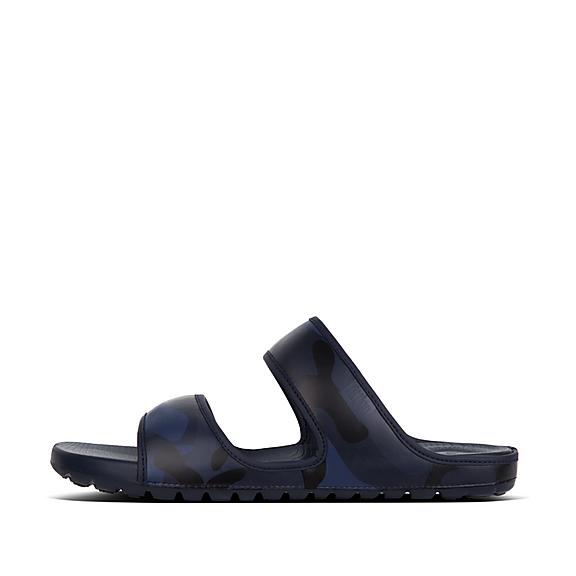 핏플랍 FitFlop LIDO Mens Camouflage Double Neoprene Slides,Midnight Navy Mix