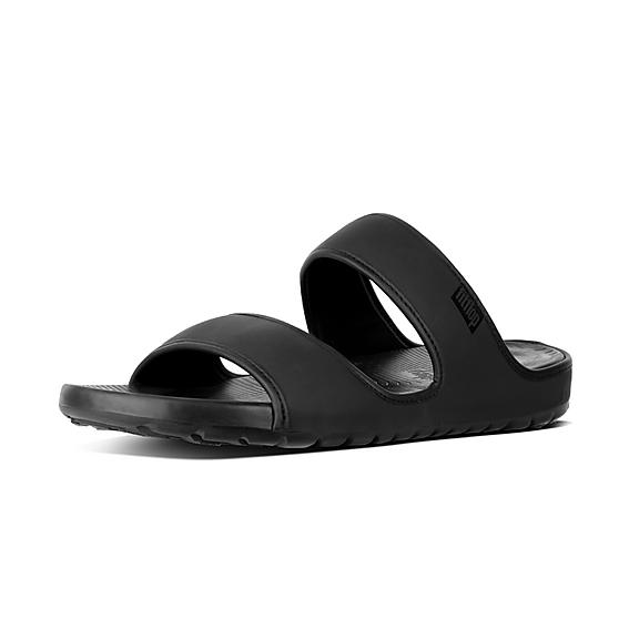 핏플랍 FitFlop LIDO Mens Double Neoprene Slides,Black