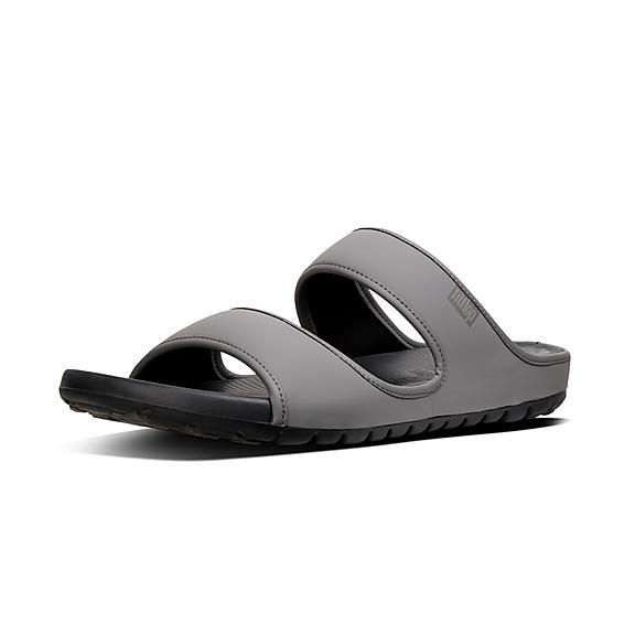 핏플랍 FitFlop LIDO Mens Double Neoprene Slides,Charcoal