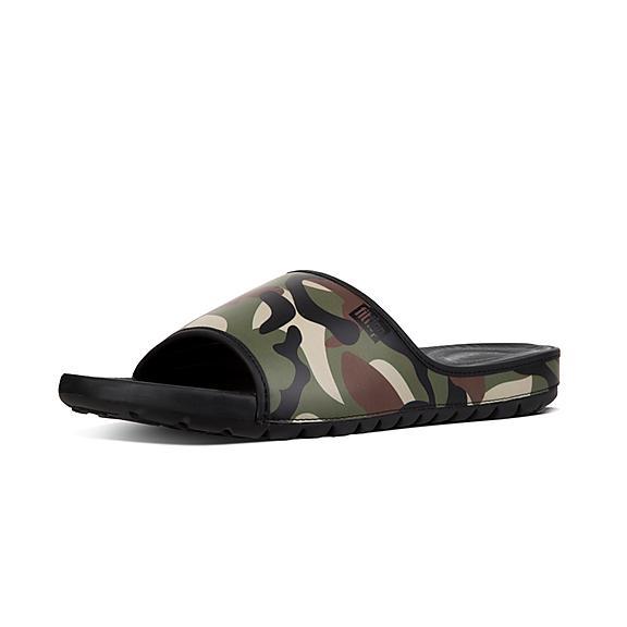 핏플랍 FitFlop LIDO Mens Camouflage Neoprene Slides,Khaki Mix