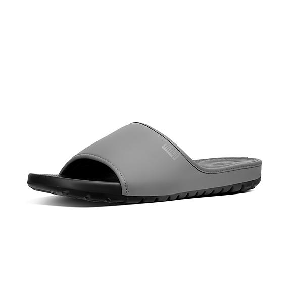 핏플랍 FitFlop LIDO Mens Neoprene Slides,Charcoal