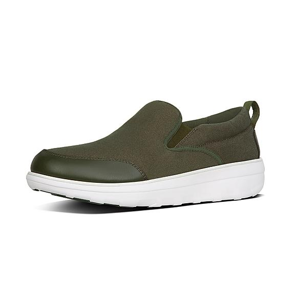 핏플랍 FitFlop LOAFF Mens Skates In Canvas,Camouflage Green