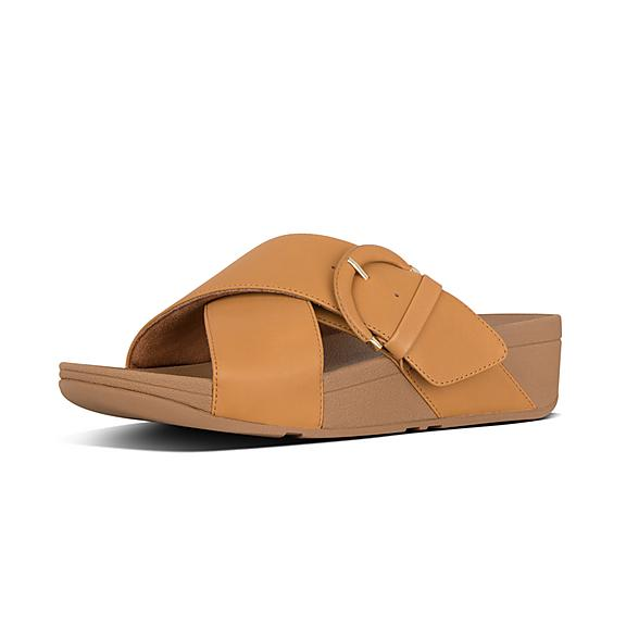 핏플랍 FitFlop LULU Buckle Leather Slides,Mustard