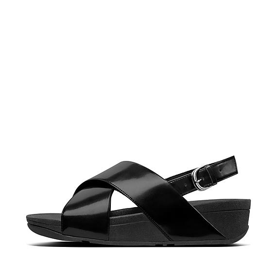 핏플랍 FitFlop LULU Mirror Cross Back-Strap Sandals,black-mirror