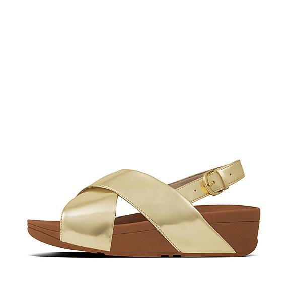 핏플랍 FitFlop LULU Mirror Cross Back-Strap Sandals,Gold Mirror