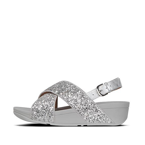 핏플랍 루루 글리터 백스트랩 샌들 - 실버 FitFlop LULU Glitter Back-Strap Sandals,Silver
