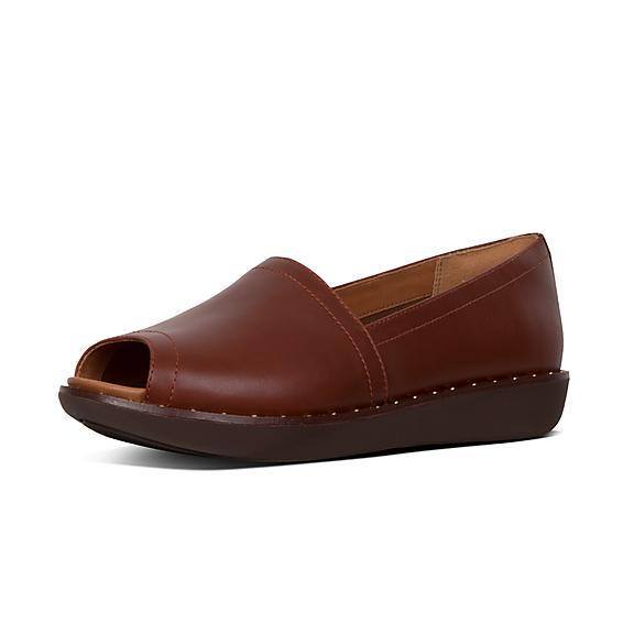 핏플랍 FitFlop NADIA Peep-Toe Leather Loafers,Cognac