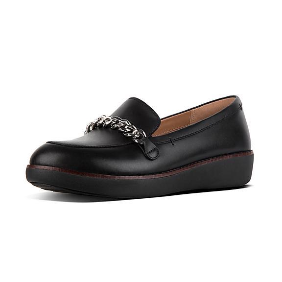 핏플랍 FitFlop PETRINA Leather Loafers,Black