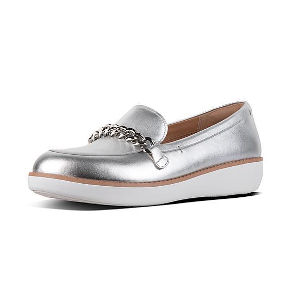 핏플랍 FitFlop PETRINA Metallic Leather Loafers,Silver