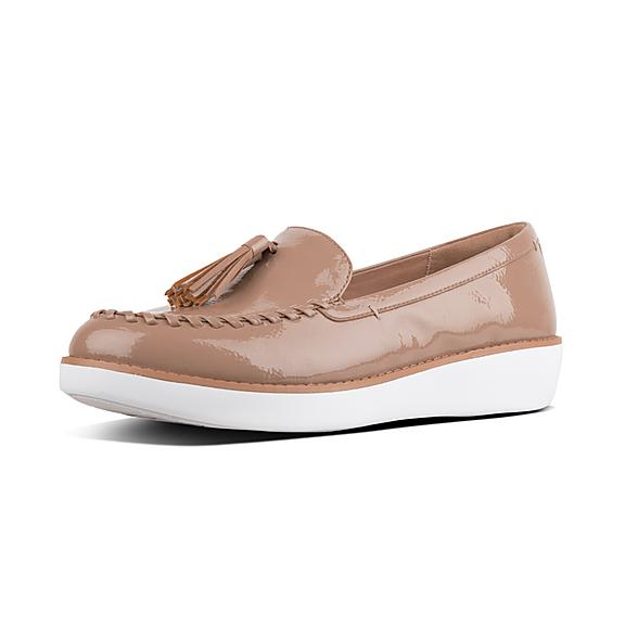 핏플랍 FitFlop PETRINA Crinkle-Patent Moccasin Loafers,Taupe