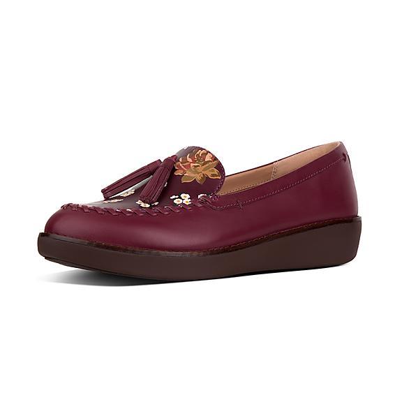 핏플랍 FitFlop PETRINA Dark Floral Moccasin Leather Loafers,Berry Mix
