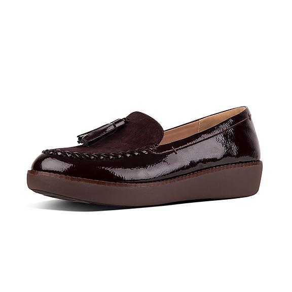 핏플랍 FitFlop PETRINA Patent Moccasin Loafers,Berry