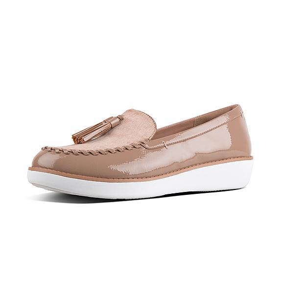 핏플랍 FitFlop PETRINA Patent Moccasin Loafers,Taupe