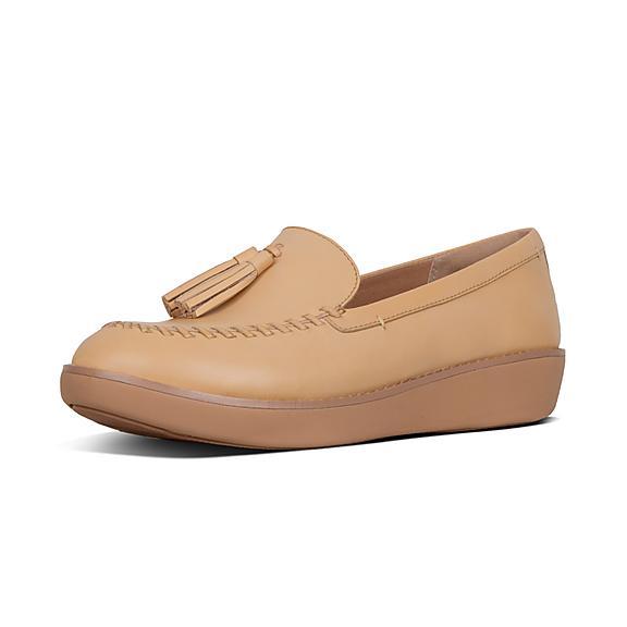 핏플랍 FitFlop PETRINA Leather Moccasin Loafers,Blush