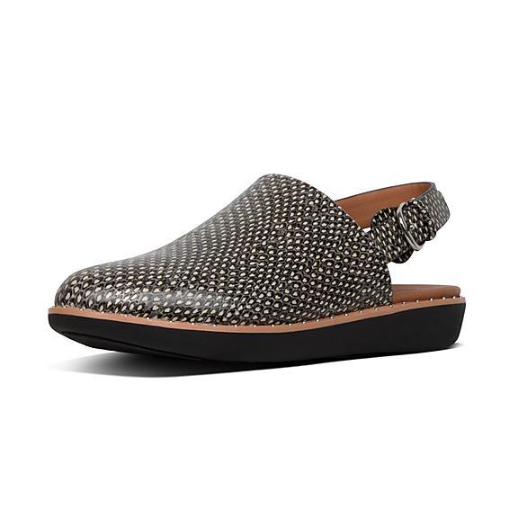 핏플랍 FitFlop SAGE Dotted-Snake Leather Back-Strap Mules,Natural Snake