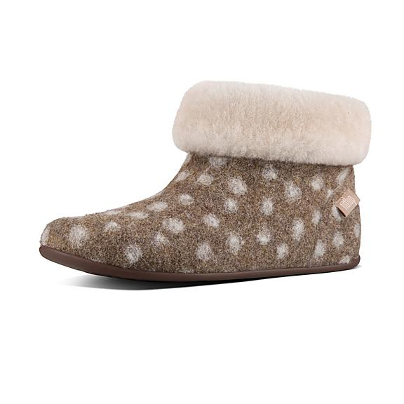 핏플랍 FitFlop SARAH Shearling Slipper Booties,Taupe