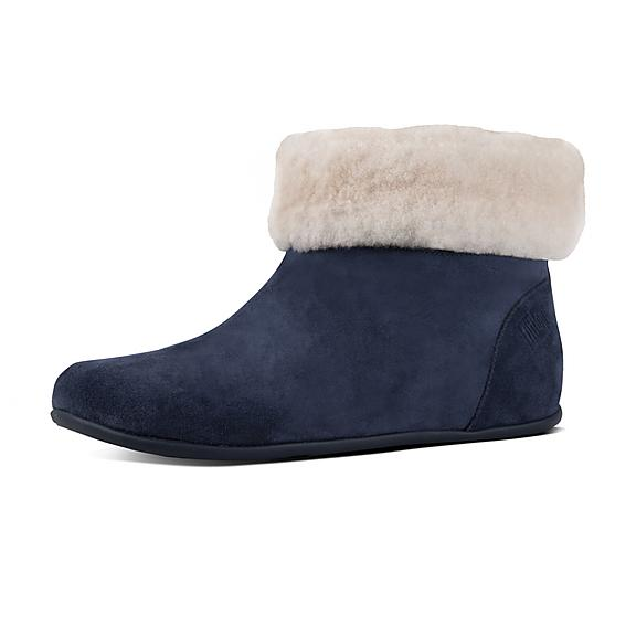 핏플랍 FitFlop SARAH Shearling Suede Slipper Booties,Midnight Navy